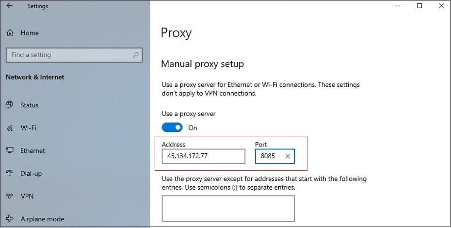 manual proxy server tab with IP address