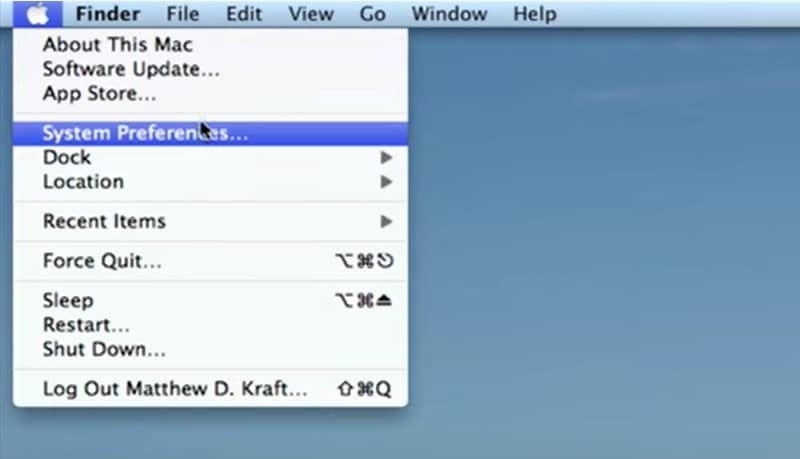 system preferences on the Apple menu