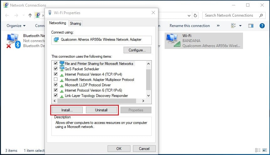 uninstalling and reinstalling network adapter drivers